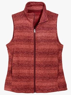 Vesta z pleteného fleecu - tmavěčervená-melír
