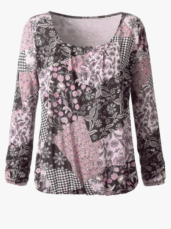 Shirt - rosé-schwarz-bedruckt