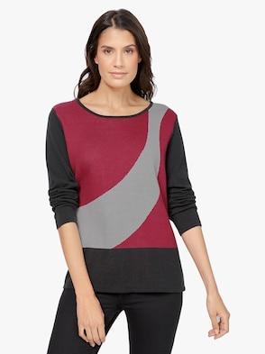 Pullover - rot-gemustert
