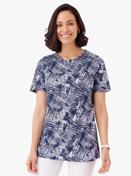 Lang shirt - nachtblauw gedessineerd