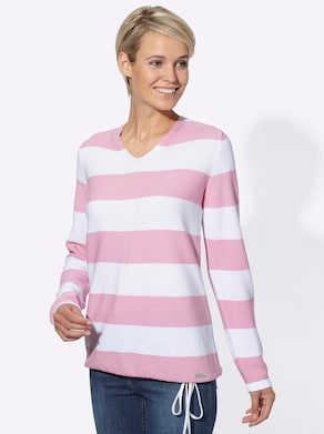 Collection L Pullover - roze/wit gestreept