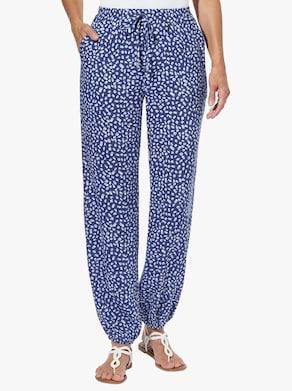 Kalhoty s potiskem - královská modrá-ecru-potisk