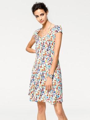 Linea Tesini Druck-Kleid - weiß-bunt