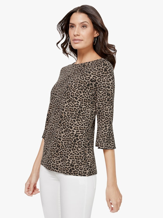 Shirt - schwarz-beige-bedruckt