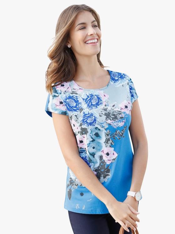 Shirt - blauw gedessineerd