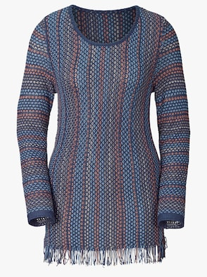 Pullover - blau-rost-gemustert