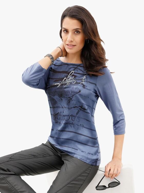 Blusenshirt - jeansblau-bedruckt