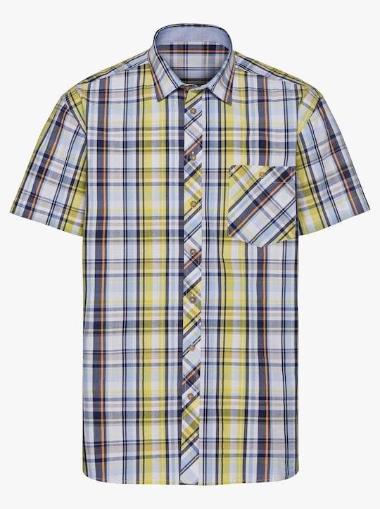 Marco Donati Hemd met korte mouwen - geel geruit