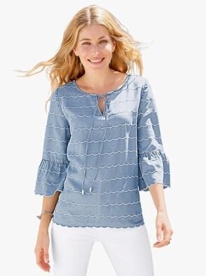 Bluse - jeansblau-weiß
