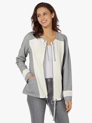 Shirtjacke - grau-weiß