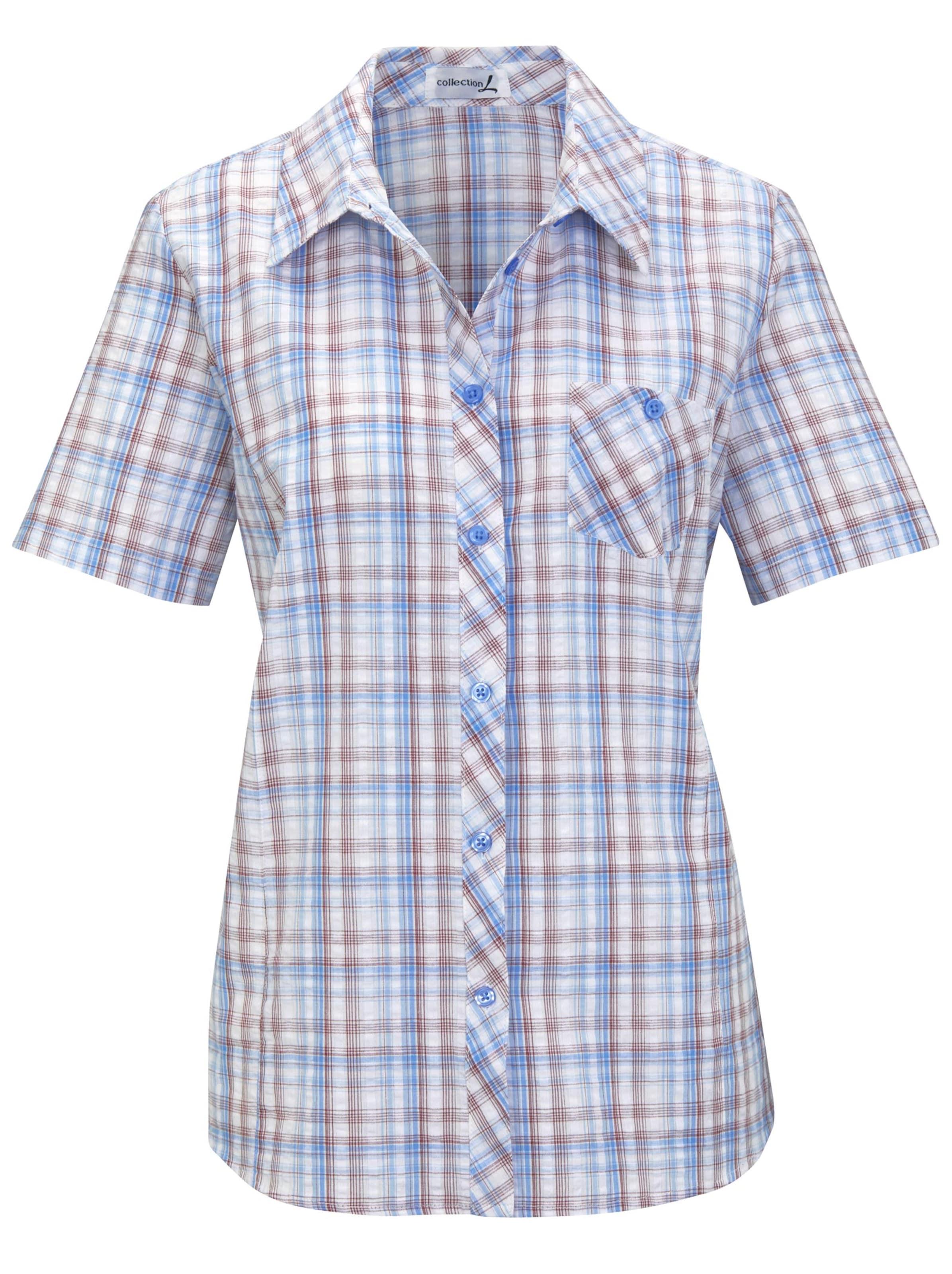Your Look... for less! Dames Katoenen blouse jeansblauw geruit Größe