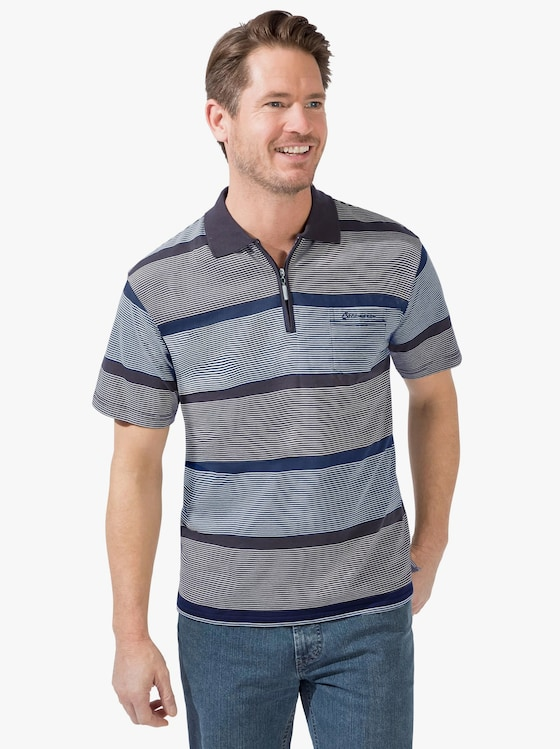 Kurzarm-Poloshirt - blau-gestreift