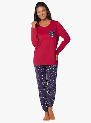 Pyžamo - červená-námořnická modrá