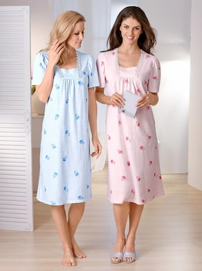 Ascafa Kurzarm-Nachthemden - rosé + bleu
