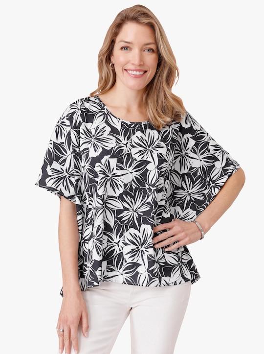 Comfortabele blouse - wit/marine geprint