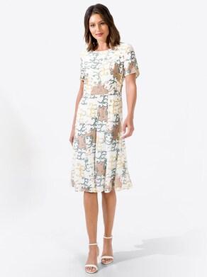 Druck-Kleid - ecru-zitrone-bedruckt