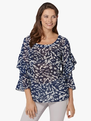 Bluse - nachtblau-weiß-bedruckt