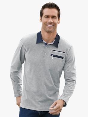 Langarm-Shirt - hellgrau-meliert
