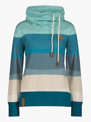 Sweatshirt - salbei-aquapetrol-geringelt