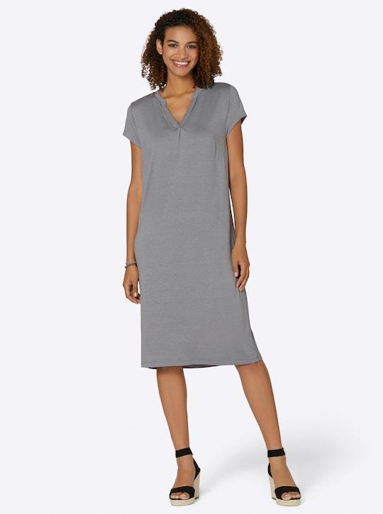 Jersey-Kleid - steingrau-meliert