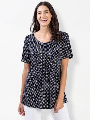 Shirt - marine/lichtroze bedrukt