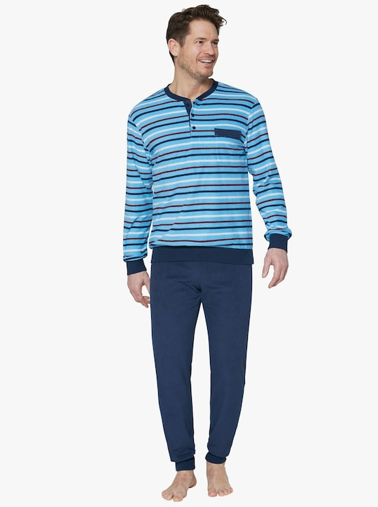 KINGsCLUB Schlafanzug - blau-gestreift