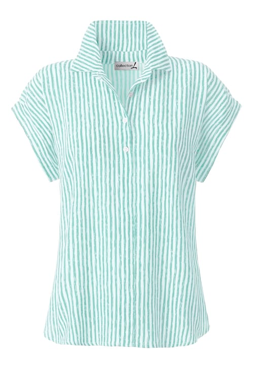 Collection L Bluse - mint-gestreift