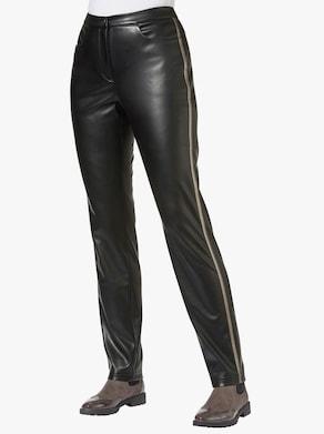 Kalhoty z imitace kůže - černá-bronzová