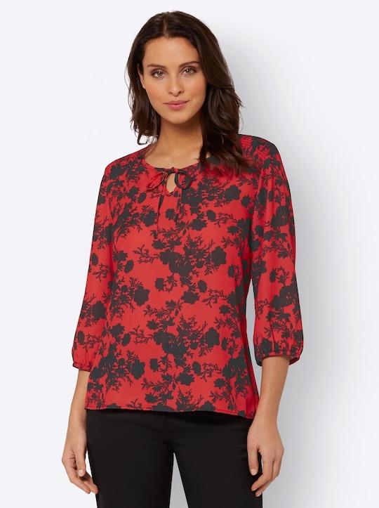 Fair Lady Bluse - rot-schwarz-bedruckt