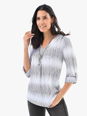 Bluse - schwarz-weiß-gemustert