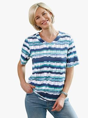 Tričko - noční modrá-laguna-vzor