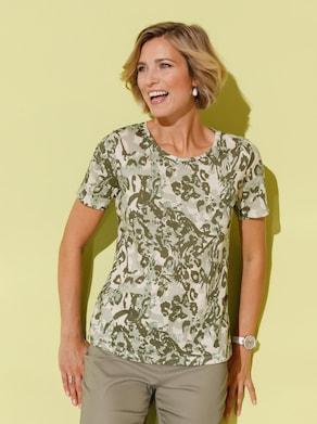 Shirt - olijf gedessineerd
