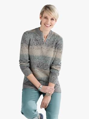 Pullover - winterturquoise gestreept