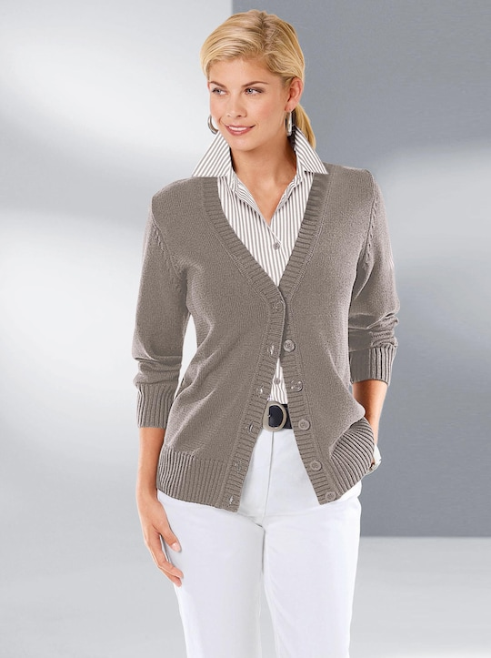Collection L Strickjacke - taupe-meliert