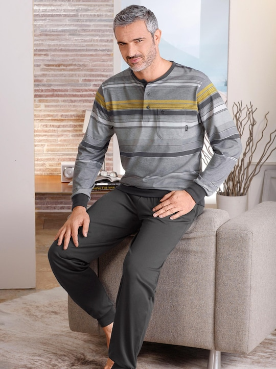Hajo Schlafanzug - anthrazit-geringelt