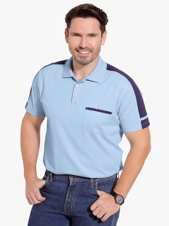 Poloshirt - eisblau-nachtblau