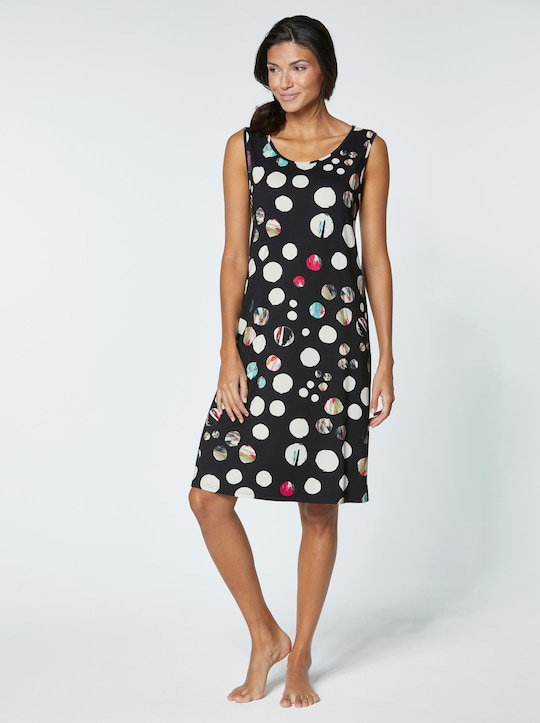 Sommerkleid - schwarz-bedruckt