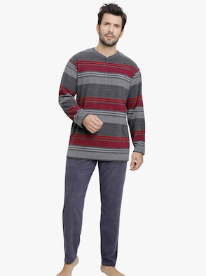 Schlafanzug - grau-rot-gestreift