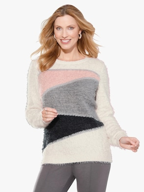 Pullover - ecru gedessineerd
