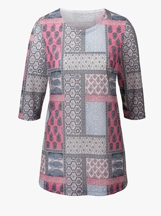Lang shirt - bessenrood gedessineerd