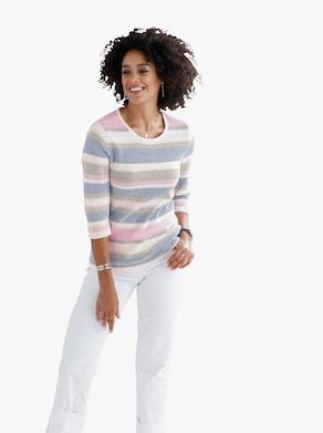 Pullover - ecru gestreept