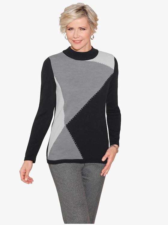 Pullover - schwarz-steingrau-gemustert