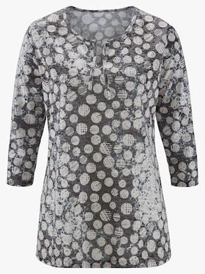 Shirt - grau-ecru-bedruckt
