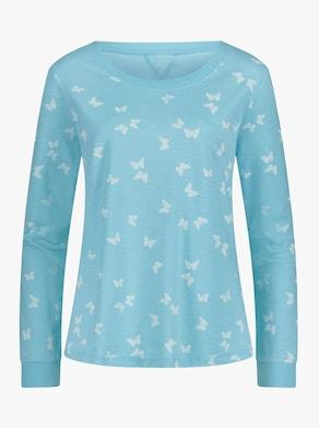Sweatshirt - aquamarine-weiß-bedruckt
