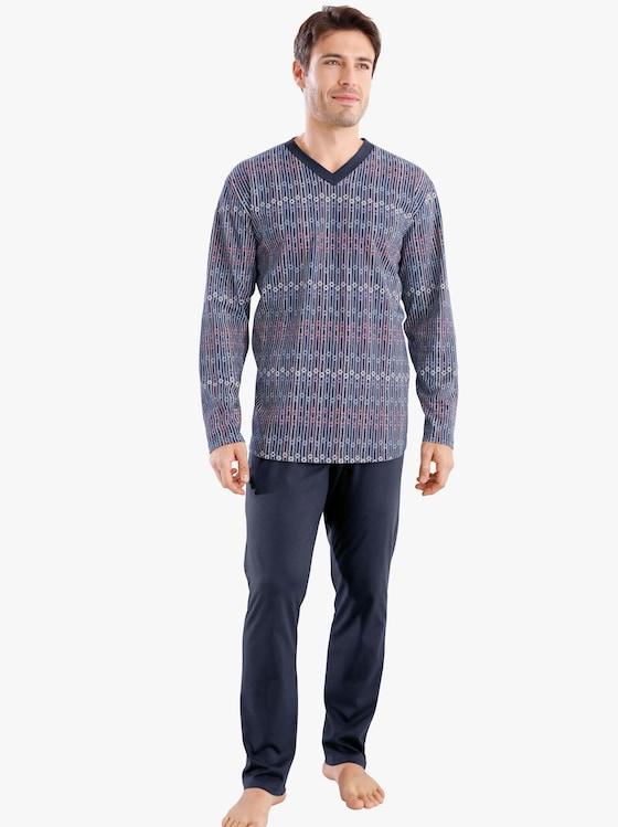 Pyžamo - námořnická modrá-potisk