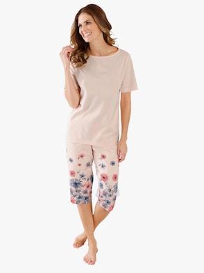 Capri-Schlafanzug - rosé-bedruckt