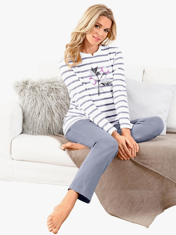 Schlafanzug - mauve-geringelt