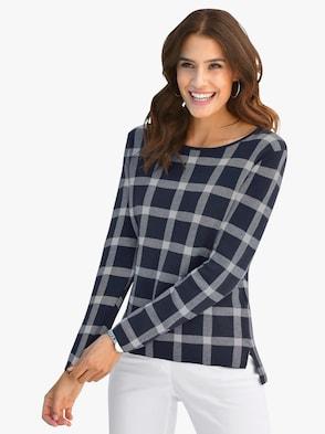 Pullover - marine-ecru-gemustert