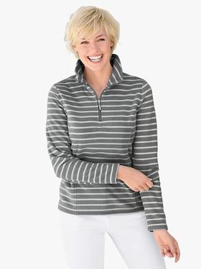 Fleece-Shirt - grau-gestreift