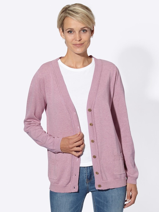 Collection L Strickjacke - rosé-meliert